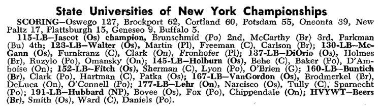 ArmDrag com::: 1969 State Universities of New York Championships